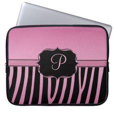 Pink and Black Zebra Monogram Laptop Sleeves #laptopsleeves #monogram #zebra #pink