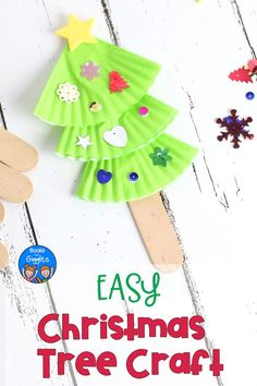 This Easy Christmas Tree Craft For Kids Is Also A Puppet It's Perfect For Preschool To Early Elementary. Additionally, We Recommend A Picture Book To Go With It. Via Booksandgiggles Kids Christmas Ornaments, Christmas Crafts For Kids To Make, Preschool Christmas, Toddler Christmas, Crafts For Boys, Craft Activities For Kids, Christmas Activities, Toddler Crafts, Simple Christmas