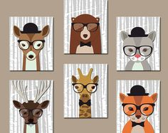 Hipster Animals Nursery Art Prints Hipster by RomeCreations