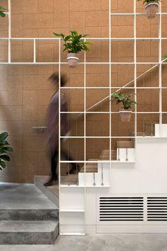 Pot plants cover trellis-like walls inside London cafe by Neiheiser Argyros Stair Handrail, Staircase Railings, Staircase Design, Stairways, Stair Design, Staircase Remodel, Staircase Ideas, Banisters, Modern Staircase