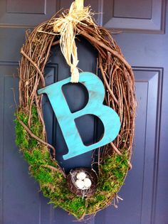 Bird's nest monogram door wreath by TheSassyDoor on Etsy