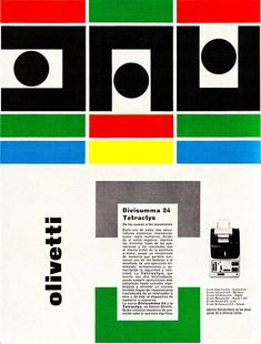 Best Film Posters : Giovanni Pintori Olivetti Ad From Graphis Annual Vintage Graphic Design, Graphic Design Posters, Graphic Design Typography, Graphic Design Illustration, Graphic Design Inspiration, Graphic Prints, Creative Inspiration, Graphic Art, Vintage Advertisements