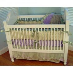 """Lilac Trellis Crib Bedding Set  (use without bumper for safety)""  for Enchanted Woodland Fairy Girl's room by Living Lullaby Designs #fairyroom #livinglullaby"