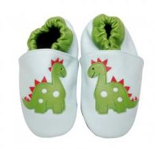 Handcrafted super soft leather shoes with cushioned suede sole in a cute dinosaur design.  Machine washable!  $27 from www.mybabypeanut.com