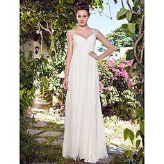 Sheath/Column V-neck Floor-length Chiffon Wedding Dress – GBP £ 125.27