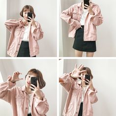 Material: Denim, Cotton Color: white, light green, pink, military green One Size… – 2019 - Denim Diy Coats For Women, Jackets For Women, Korean Fashion Minimal, Pink Denim Jacket, Korean Outfits, Preppy Style, Women's Fashion Dresses, Casual Outfits, Winter Outfits