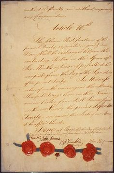 The Treaty of Paris, ending the American Revolutionary War