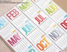 3x4 2013 Calendar Cards and 4x6 2013 Calendar Cards inacreativebubble.blogspot.com.au
