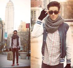 plaid, varsity jacket, scarf, skinnies, sneaks.