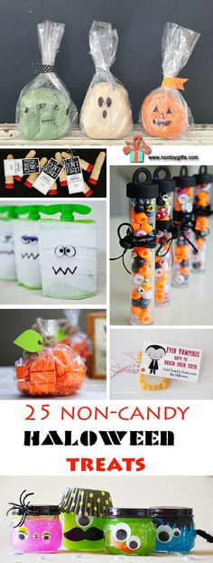Non-Candy Halloween Treats For Kids. Best Candy Alternative Ideas - - Looking for the best Halloween candy alternatives? These non-candy Halloween treats are fun for kids without adding any extra sugar to their diet. Best Halloween Candy, Dulces Halloween, Halloween Treats To Make, Theme Halloween, Manualidades Halloween, Halloween Goodies, Halloween Activities, Holidays Halloween, Spooky Halloween