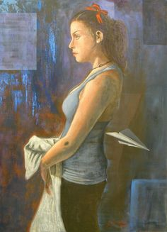 """Girl with red ribbon Original Oil Portrait Figurative Painting by Giosi Costan 19,69 x  27.56"""""""