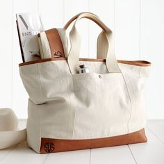 Canvas with Leather Tote | Mark and Graham