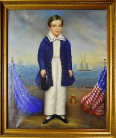 """Silas Doane. Ship Captain's Son, ca. 1850. Tag affixed to reverse reads, """"OIL PORTRAIT - 19TH CENTURY AMERICAN SCHOOL. 'SHIP CAPTAIN'S SON' SIGNED BY THE ARTIST SILAS DOANE."""""""