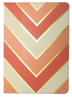Coral + Gold :: Chevron Folio for the New iPad and iPad 2 $29.99