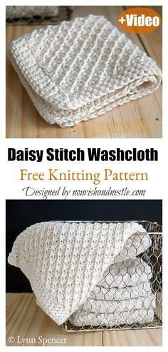 Daisy Stitch Washcloth Free Knitting Pattern and Video Tutorial #startknittingfreepattern #easyknittingpatterns #dishclothknittingpatterns