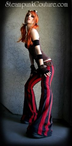 Lovingly hand-made black and red stripe steampants, low-rise, flared stretch pants with five belt loops and elastic waistband.