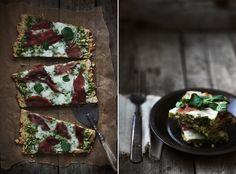 Herbed Flatbread with Arugula Pesto, Prosciutto & Sheep's Milk Cheese
