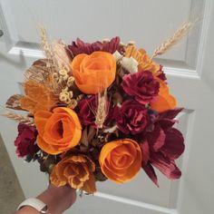 fall wedding flowers. orange flowers. paper flower bouquet. denver florist.