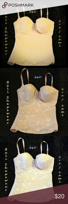 Just ⬇ price! NWOT Power Shape bra-cami LK!!! Gr8 price! Fantastic deal on NWOT (NEVER worn) bra-camisole from Bali.  Beige colored garment has removable straps for wear with strapless evening gowns, etc.  Made in Honduras with varying amts of Nylon, Polyester, Polurethane foam & Spandex according to needs/functions of each part of garment.  From SFPF home.  ***BUNDLE DI$COUNT 20% FOR 2+ ITEM$*** Bali Intimates & Sleepwear Shapewear