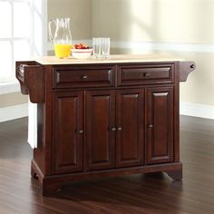 Crosley Furniture L X W X H Brown Craftsman Kitchen Island. Natural Wood  Countertop Shown.
