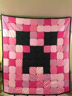 Pink Minecraft Creeper blanket Minecraft Quilt Face  by cahkoclok