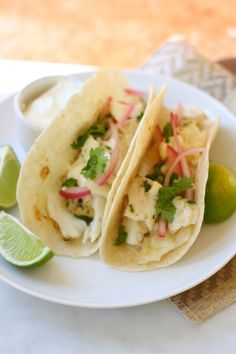 This recipe for fish tacos is so delicious. Dinner with some assembly required is always fun for all! See the recipe at bakebellissima.com
