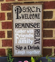 """Porch Sign. """"Porch Welcome Gather with Friends and Family"""". Very Nice Sign For Front Porch, Back Porch. by ASentimentalSeason on Etsy"""