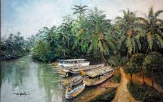 PELABUHAN SUNGAI, oil on cancas 90x120cm by Daniel de Quelyu. Surabaya- INDONESIA