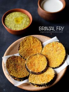 brinjal fry recipe with step by step pics. brinjal fry are crispy and delicious pan fried brinjal slices. these brinjal slices have nice sweetish tones and soft in texture from within and crisp from outside. Sabudana Recipes, Pakora Recipes, Goan Recipes, Indian Food Recipes, Cooking Recipes, Eggplant Dishes, Eggplant Recipes, Brinjal Fry Recipe, Brinjal Recipes Indian