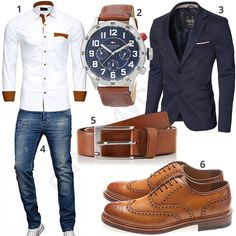 Business-Outfit mit Hemd, Sakko und Uhr Business outfit for men with white Reslad shirt, Tommy Hilfiger wrist watch and light brown leather belt, Gordon & Bros business shoes, A. Salvarini jeans and dark blue Moderno jacket. Business Outfit Herren, Men's Business Outfits, Business Shoes, Elegantes Business Outfit, Tommy Hilfiger Watches, Mode Man, Moda Formal, Style Masculin, Big Men Fashion