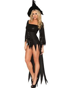 Black Devil Sexy Hot Halloween Cosplay Costume With Hat Tassel Witch Adult  Woman Clubwear Fancy Dresses Uniform For Party 7044 8f9b3a9c9f66