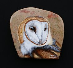 Hand+Painted+Barn+Owl.+by+PrecambrianTreasures+on+Etsy,+$140.00