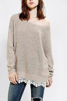 Lace trim, off-the-shoulder sweater - cute!!
