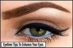 """Pro Tip: Instead of applying your color in one swoop, one of the easier eyeliner tips is to make small lines across the upper lid. You can go back and fill in any tiny gaps. For the cat eye point begin to turn your eyeliner brush up at about ¾ of the way out. For the classic look extend the liner no more than 1/4"""" beyond where your outer lid ends. (Read More)"""