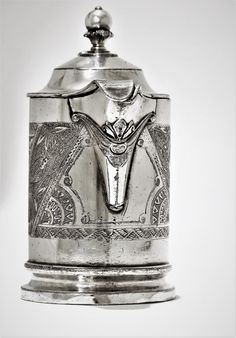 Syrup pitcher from James W. Tufts at The American Silver Museum II Digital Museum, Syrup, Silver Plate, Victorian, Vase, American, Silverware Tray, Jars, Vases