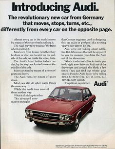 Audi Ad 1970s | Audi has com a long way . . . | sueism | Flickr