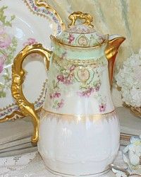 Stunning Antique French Limoges Chocolate Pot Violet Flowers-Victorian, chocoliatiere, flowers, floral,enameled,white,pink, gold, gilt,coffee,V F, H & C,1800's, 19th century