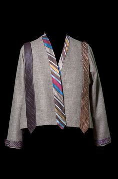 Rae made this smart looking jacket for her mom using a collection of her Dad's old ties. The jacket is a basic Tabula Rasa Jacket in tweedy wool with the addition of traditional inseam pocke…