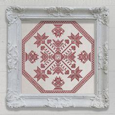 Hälsingland Cushion - original cross-stitch embroidery pattern chart by Modern Folk Embroidery