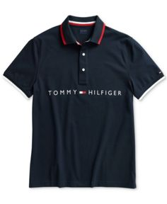 Tommy Hilfiger Adaptive Men's Logo Graphic Polo with Magnetic Buttons - Navy Blazer Custom Polo Shirts, Polo T Shirts, Polo Shirt Design, Men Logo, Buttons Online, Ralph Lauren, Baby Clothes Shops, Pull, Baby Shop