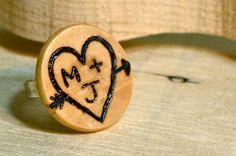 Woodburned tree ring