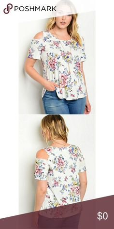 "5 LEFT PLUS SIZE White with Pink Flower Top Plus Size Scoop neck, cold shoulder short sleeve floral print top with necklace. Pairs beautifully with jeans and booties.  Description: L: 29"" B: 38"" W: 38"" Fabric Content: 96% RAYON 4% SPANDEX Country: USA Tops Blouses"