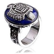 Vintage Punk Gothic Silver Lapis Lazuli Alloy Men's Ring – NOK kr. 34