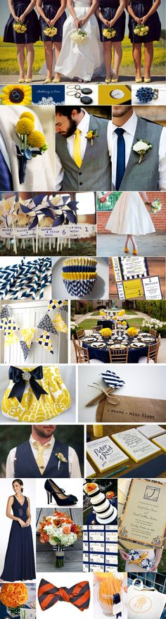 Navy and Yellow wedding inspiration but I would want yellow and a lighter blue