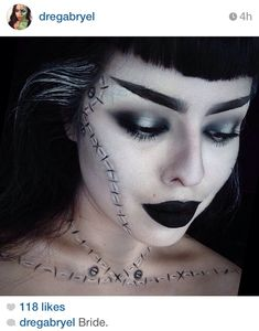 Amazing bride of Frankenstein makeup.