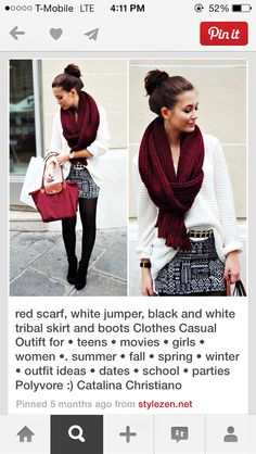 White cardi dark red oz blood burgundy scarf printed pattern tribal mini skirt black winter outfit