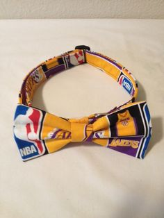 4470a523b135 Lakers Bowtie Dog Collar Size Medium or Large by GlamMutts on Etsy