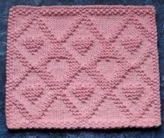 Fall in love with this Diamond Hearts Dishcloth free knitting pattern.