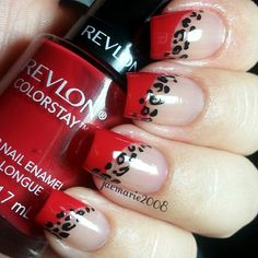 Red leopard print French nail art Instagram photo by @JaeMarie 2008 via ink361.com