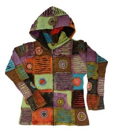 Small Bohemian Hippie Patchwork Razor Cut Hoodie Jacket Nepal by Lungta Imports